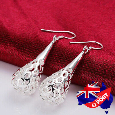 NEW Wholesale 925 Sterling Silver Filled Filigree Teardrop Drop Dangle Earrings
