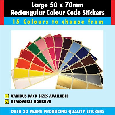Grand - 50 X 70mm Paquet Mixte de Code Couleur Rectangles Autocollants-