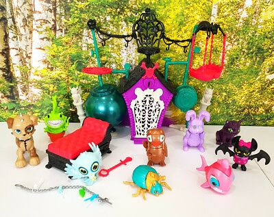 Bundle Monster High 9 animals pets playset Secret Creepers Crypt and more (283)