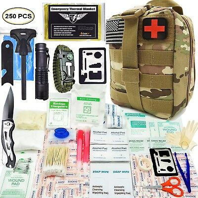 250 Piece Survival First Aid Kit Emergency Trauma Bug out Molle Bag Safety