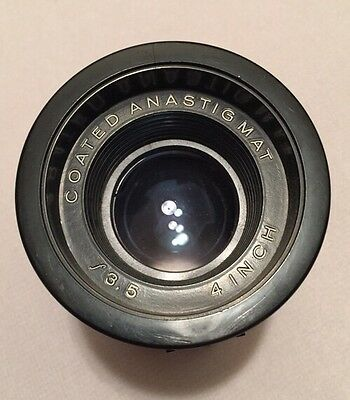 COATED ANASTIGMAT 4 INCH f/3.5 Projector Lens Projection Track Bottom
