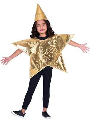 Childs 3-8 Yrs Gold Christmas Nativity Star Fancy Dress Costume Tabard Kids Xmas