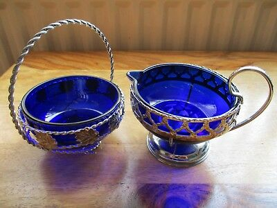 Vintage Cobalt Blue Glass & Chrome Plated Sugar Bowl And Milk / Cream Jug