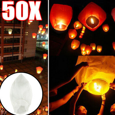 50PCS White Paper Sky Chinese Lanterns Fly Candle Lamp for Wish Party Wedding