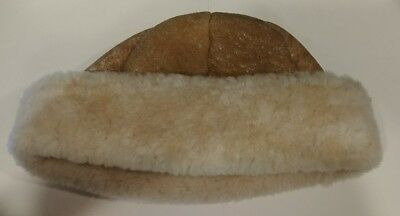 Vintage Tan Suede Leather Sherpa Shearling Lined Hat  Size Small Never Worn ~20""