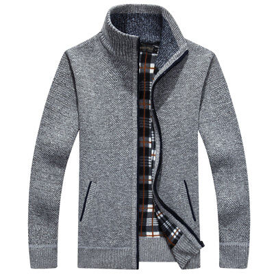Mens Winter Autumn Knitted Cardigan Classic Zip Up Thick Velvet Jumper Cardigan