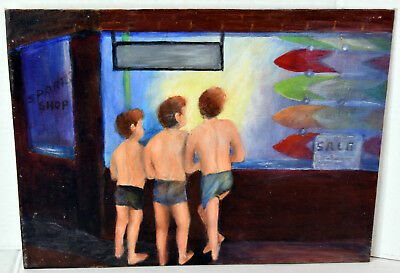 "16"" Oil Painting 1960s Lucille Bodiford Florida Beach Scene Boys Surf Store"