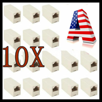 10PACK Network Ethernet Lan Cable Joiner Coupler Plug Connector RJ45 CAT5 USA