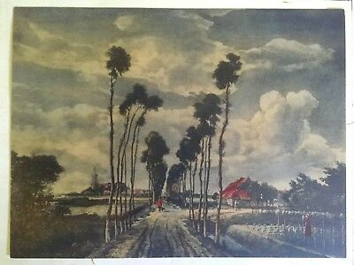"Antique Rare 1800's Hobbema Hand Colored Photogravure "" Avenue Of Trees "" 1689"