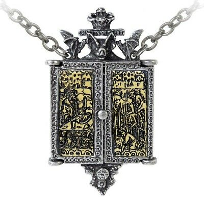 Balkan Triptych Icon Locket Pewter Vlad Dracula Bat Necklace Alchemy Gothic P826