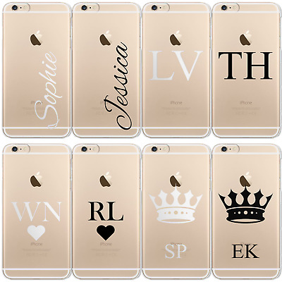 Personalised Initials Iphone Xs Max Xr 7 8 Case Clear Hard Cover For Apple Phone