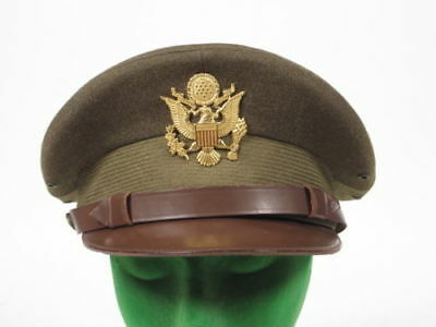 183535d140f WWII US Officer visor cap dress uniform hat combat Army Air Force corps  crusher