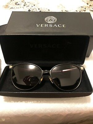 74700553e3 NWT Versace Sunglasses VE 2168 1377T3 Polarized Black Gold   Gradient Gray  57 mm