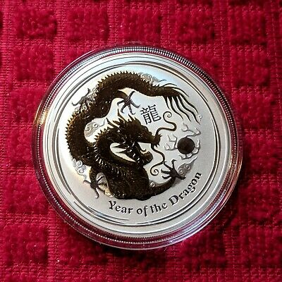 2012 Year of the Dragon - 1 oz Gilded Silver Coin (SII) (Capsule)