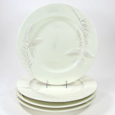 """Target BIRCHWOOD CHALET 10.75"""" Dinner Plate Set 4Pc Holiday 2010 Mint Pinecone"""