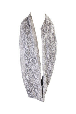 Collection Xiix Grey Foil-Print Lace Infinity Loop OS
