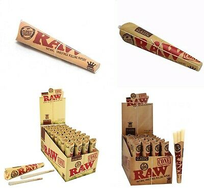 RAW King Size Pre-Rolled Cones Classic Organic Papers x3 Pack Bulk Deal Discount