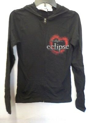Juniors Womens Twilight Eclipse Edward Bella Black Zip Front Hoodie New #13427V