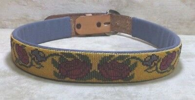 """Native American Tan Leather Beaded Belt 30"""" - 33"""" Yellow & Red Roses Vine Design"""