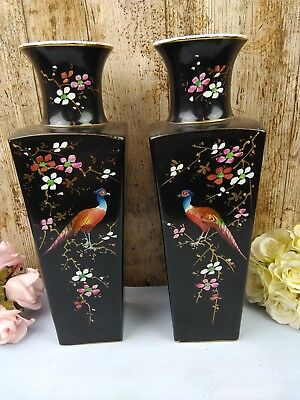 Pair of Stunning Hand Decorated Black Pottery Vase c1950s Japanese 31.5cm