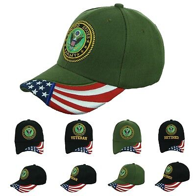 b242a7b8816 US Army Baseball Cap USA Flag Army Veteran Retired Hat CAMO Official  Licensed