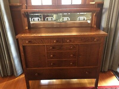 Antique Arts and Crafts Mission Style Tiger Oak Sideboard/Buffet