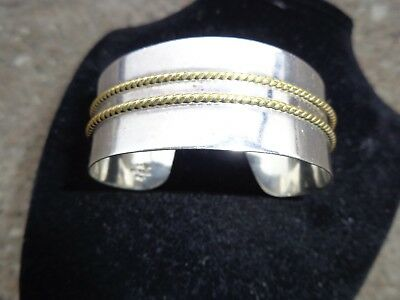 "VINTAGE MEXICAN SILVER TWO TONE MODERNIST 1"" WIDE CUFF BRAID BAND BRACELET 31.4g"