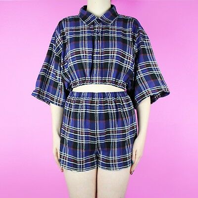 VINTAGE Reworked Blue Black Check 90s Set Two Piece High Waist Short Shirt Top 8