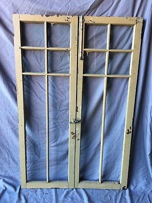 Pair Antique 6 Lite Casement Door Window Cabinet 19X56 Vintage Old 257-18C