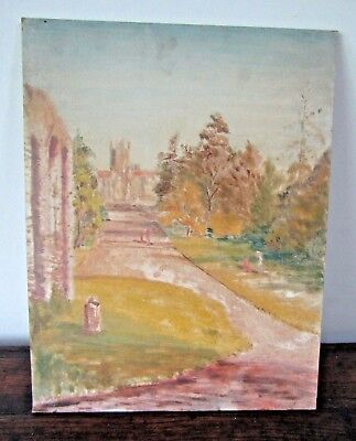 Original Oil Vintage Mid Century Abstract Realism Landscape Board Cathedral