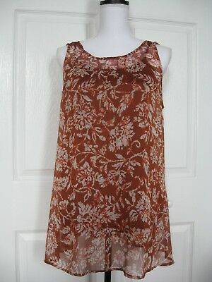 Aglow Size M Rust Floral Sheer Swing Top with Tank NWT