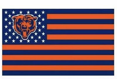 Chicago Bears 3x5 Ft American Flag Football New In Packaging
