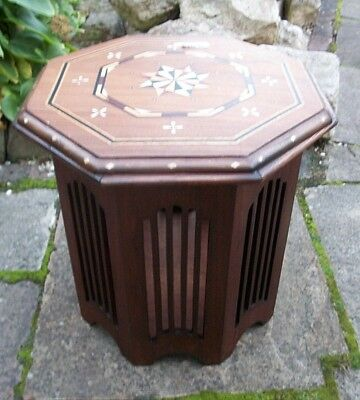 Antique Octagonal Art-Deco  Inlaid Wooden Side Table With Storage