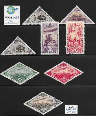 WAM_1428. TANNU TUVA. 1936 air mail short set. Scott C10-C18 (exc. C16). Used