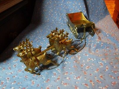 "Made in Korea Brass Sleigh Four Reindeer Sleigh 5 1/4"" Long Deer About 3 1/4"" HI"