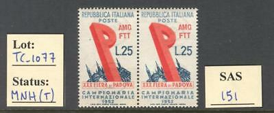 "TC_1077. TRIESTE. Pair of 1952 ""FIERA DI PADOVA"" stamp. MNH"