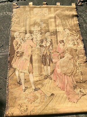 "Antique Vintage French Woven Wall Tapestry Romantic Court 58""x38"""