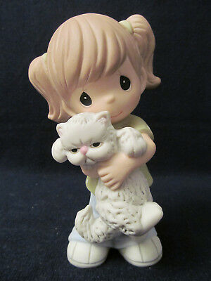 """Precious Moments Figurine~Young Girl holding Cat """"Everybody Needs A Hug"""" #134015"""