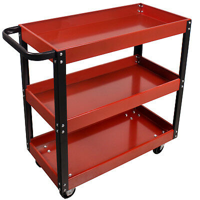 Dragway Tools 3 Tray Service Cart 150 LBS Load Capacity with Swivel 360° Wheels