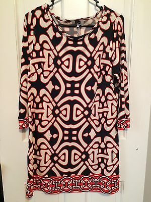 LAUNDRY BY DESIGN Sz 10 Printed Shift Dress Stretch Women s Boat Neck Large  L f573ee7b2f