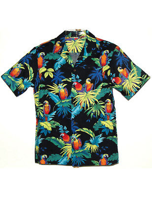 NEW NWT Parrots On Tropical Palm Leaf Traditional Hawaiian Camp Shirt
