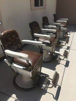 4 Matching, Theo A. Koch Antique Barber Chairs All Fluted Great Condition