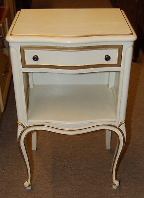 Drexel Solid Wood French Provincial Night Stand Drawer Gold Accents USA Made