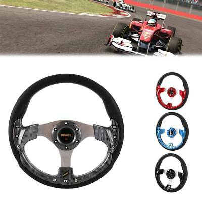 320MM Gray PVC Leather Carbon Fiber Look Racing Steering Wheel 6 Bolt W/ Horn