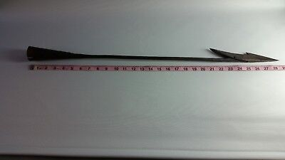 "Antique whaling harpoon, toggle type. 1800s Azorean iron. 29"" long."