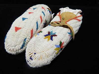 Vintage Full Beaded Southern Cheyenne Burial Moccasins - Pristine Condition - Nr