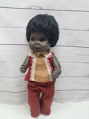 """Vintage Eegee 14"""" African American Drink Wet Doll Collectible Rare"""