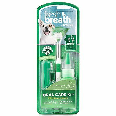 TropiClean Fresh Breath Plaque Remover Gel Brush Care Kit for Small Dogs 2oz