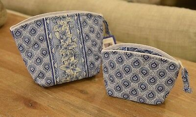 Longaberger Set of 2 Cosmetic Pouches Provincial Paisley Quilted Fabric Bags NEW