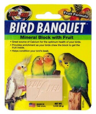 Zoo Med Labs Supplement Mineral Bird Banquet Block Fruit Formula Small Healthy